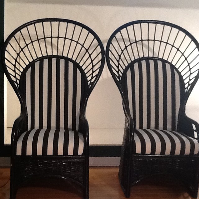 What can I say? These chairs are absolutely gorgeous! True Mid-Century throne/fan back/princess chairs. They are versatile...