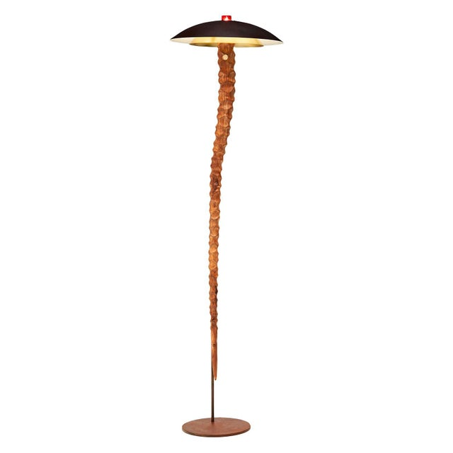 Contemporary Floor Lamp Astar by Oma Light Design, Brass, Acacia - Barcelona For Sale - Image 6 of 6