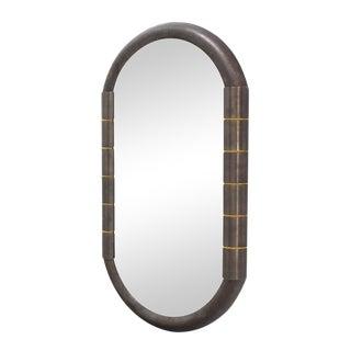 Heavy Bronze Oval Racetrack Shape Mid Century Modern Mirror For Sale