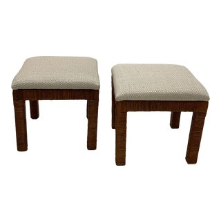 Newly Upholstered Woven Wicker Benches- a Pair For Sale
