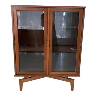 1960s Sculptural Walnut and Glass Bookcase For Sale
