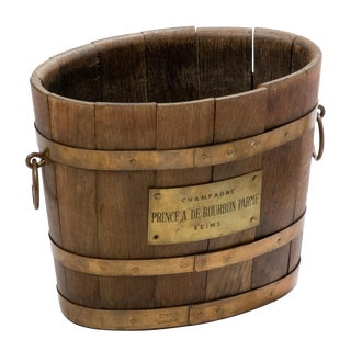 Wood Champagne Bucket With Brass Handles and Label From France For Sale