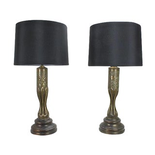 WWI Brass Trench Art Lamps - A Pair For Sale