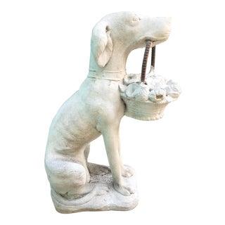 1980s Hollywood Regency Garden Dog Statue For Sale