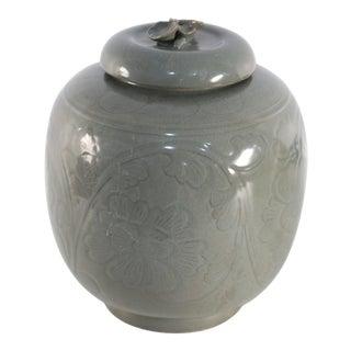 Chinese Sage and Tonal Botanical Motif Porcelain Jar For Sale