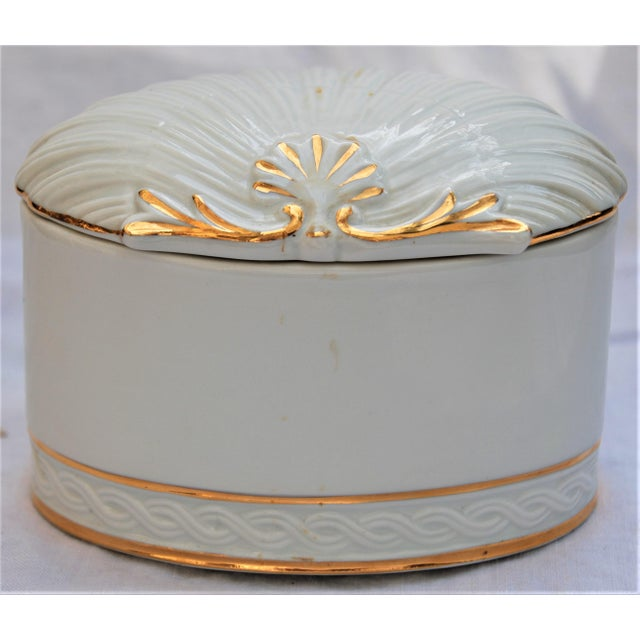 Vintage White and Gold Porcelain Box With Seashell Lid - Image 2 of 9