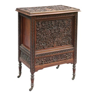 Antique Carved Cocktail Bar Cart Drinks Cabinet For Sale