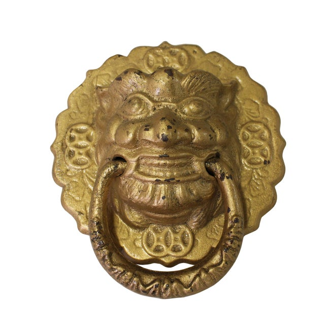 2010s Chinese Metal Distressed Matte Gold Color Lion Head Shape Pull Handle Display For Sale - Image 5 of 8