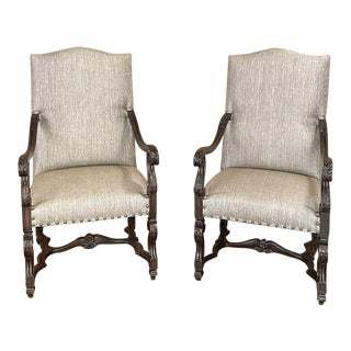 Pair 19th Century French Louis XIV Walnut Fauteuils ~ Armchairs For Sale
