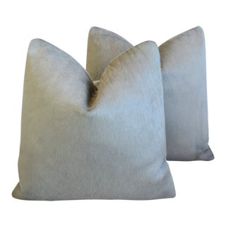 "Dove Gray Brazilian Cowhide Feather/Down Pillows 21"" Square - Pair For Sale"