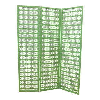 Green Mid-Century Folding Room Divider For Sale