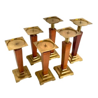 1940s Art Deco Brass and Wood Candle Holders - Set of 6 For Sale