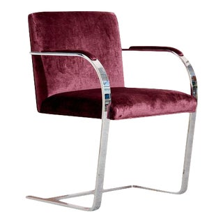 Ludwig Mies Van Der Rohe Brno Flat Bar Chair in Wine For Sale