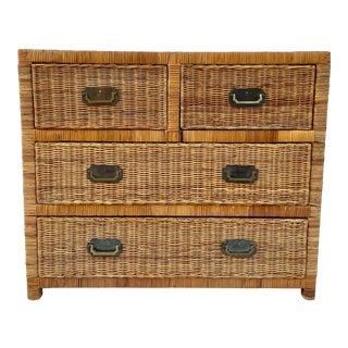 Vintage 1960's Natural Wicker Rattan Dresser For Sale