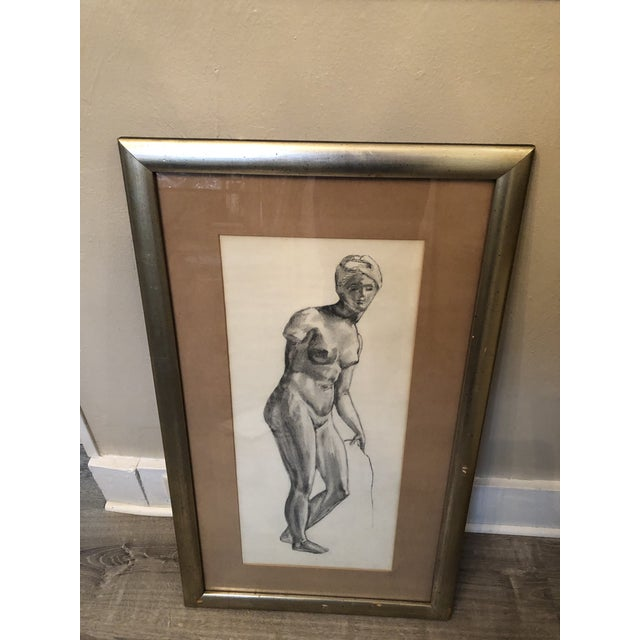 1980s Greek Goddess Nude Pencil Sketch, Framed For Sale - Image 4 of 10