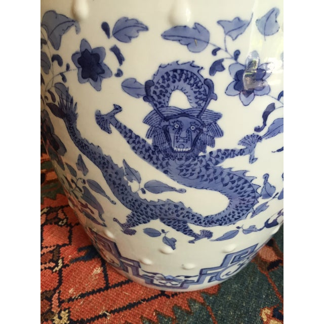 Blue Chinoiserie Ceramic Garden Stool For Sale - Image 8 of 8
