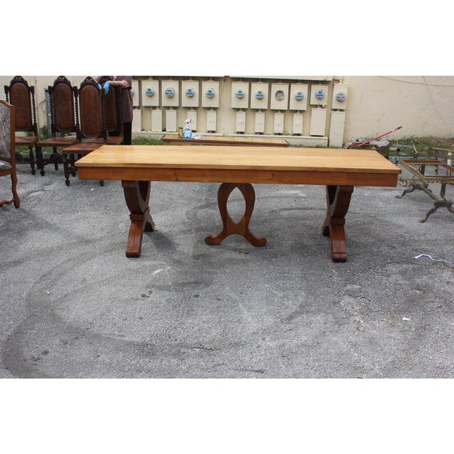 Yellow 1940s French Country Solid Sycamore Tulip Base Dining Table For Sale - Image 8 of 13