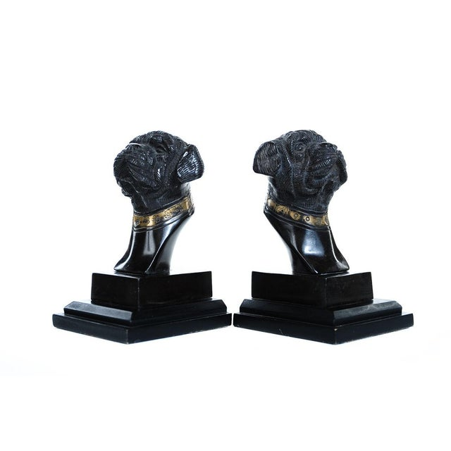 """A pair of fabulous antique 7"""" English bronze bulldogs head bookends. Both are in excellent condition. Please see photos..."""