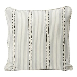 Schumacher Double-Sided Pillow in Moncorvo Stripe Linen Print For Sale