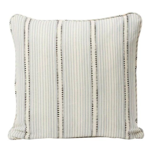 Schumacher Double-Sided Pillow in Moncorvo Stripe Linen Print For Sale