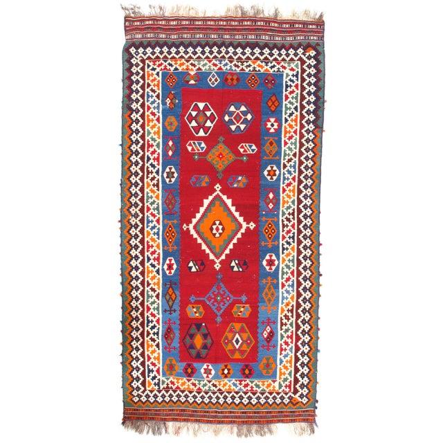 "Pasargad Ny Antique Persian Shiraz Kilim Rug - 4'6"" X 9'6"" For Sale - Image 4 of 4"
