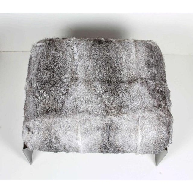 Luxurious Mid-Century Modern Style Lapin Fur Ottoman Stool With Black Chrome Base For Sale - Image 4 of 9