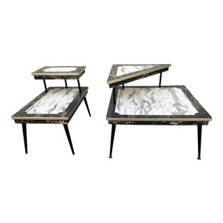 Mid Century Formica Corner Table & End Table - a Pair