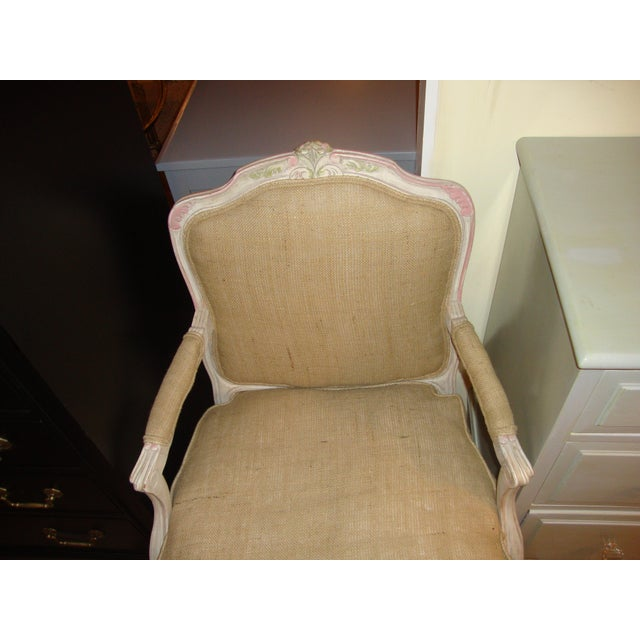 Louis XVI Style Paint Decorated Bergère Armchair For Sale - Image 9 of 9