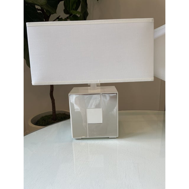 Modern Robert Abbey Modern White Metal and Chrome Accent Lamps - a Pair For Sale - Image 3 of 7