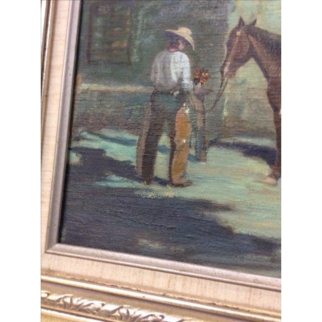 "Oil Paint ""Cowboy Bringing Flowers"" Vintage Oil Painting For Sale - Image 7 of 11"