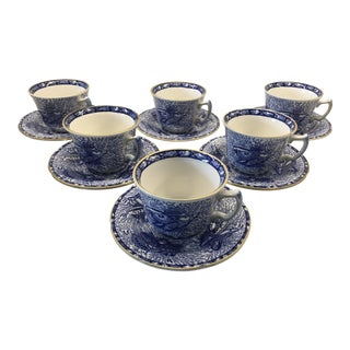 Mottahedeh Winterthur Blue Torquay Cups & Saucers - Set of 12 For Sale