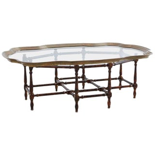 Baker Faux-Bamboo Brass Tray Coffee Table For Sale