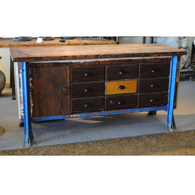 Vintage Wood Workbench Table or Console - Image 2 of 9