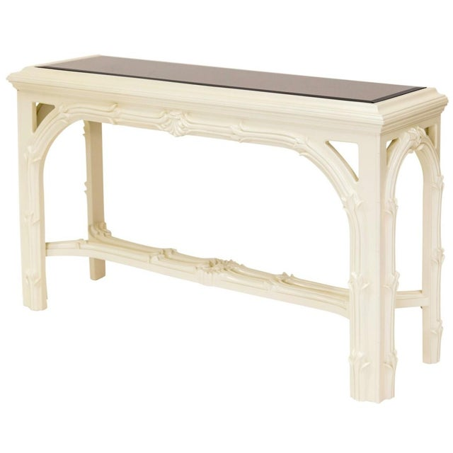 White Carved Foliate Mirror Top Console Table For Sale - Image 8 of 10