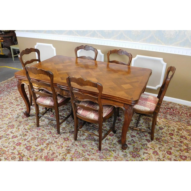 1960s French Country Oak Draw Leaf Table & 6 Chairs - Image 3 of 10