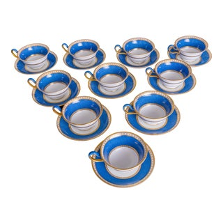 1980s Wedgwood Ulander Powder Blue and Gold Cup & Saucer - Set of 10 For Sale
