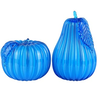 Murano Vintage Bright Blue Italian Art Glass Pear & Apple Fruit Sculptures - a Pair For Sale
