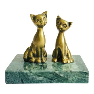 Vintage Brass Cats on Stone Base For Sale