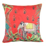 Image of Boho Chic Elephant Silk Cushion Red Gray - a Pair For Sale