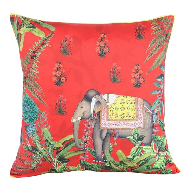 Boho Chic Elephant Silk Cushion Red Gray - a Pair For Sale