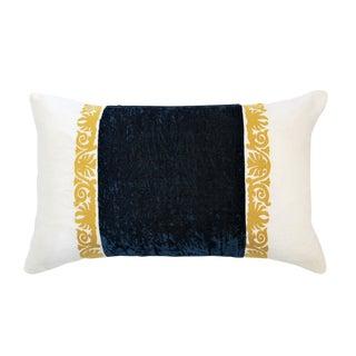 Francesca White Linen & Blue Velvet Lumbar Pillow