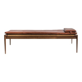 Rush and Walnut Daybed with Leather Cushion by Smilow Furniture For Sale