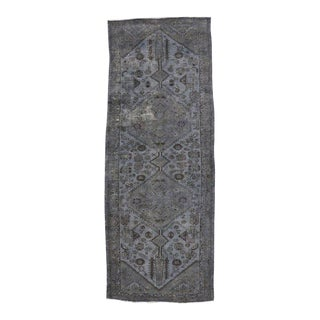 Distressed Overdyed Vintage Persian Runner Modern Industrial Style