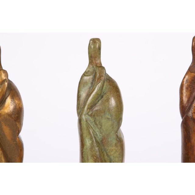 Group of Three Signed Modern Abstract Bronze Figures- in the Manner of Henry Moore For Sale - Image 4 of 7