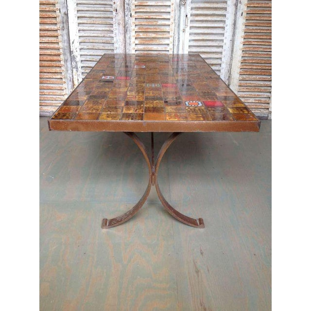 French 1960s Dining Table With Ceramic Tiled Top - Image 6 of 11