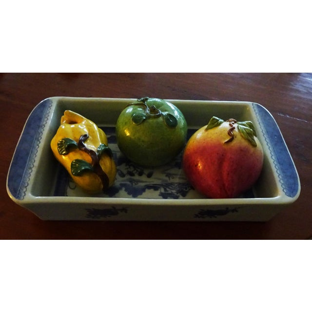 Mid 19th Century Antique Rectangular Canton Bulb Bowl & Chinese Altar Fruit Figures- 4 Pieces For Sale In San Francisco - Image 6 of 9
