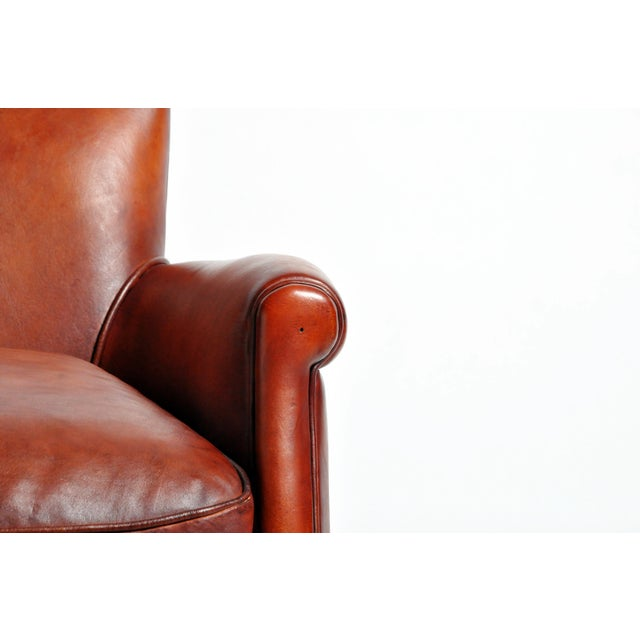 French Leather Armchairs - a Pair For Sale - Image 11 of 13