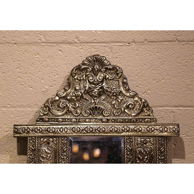 French 19th Century French Napoleon III Repousse Brass Wall Mirror With Brushes For Sale - Image 3 of 6