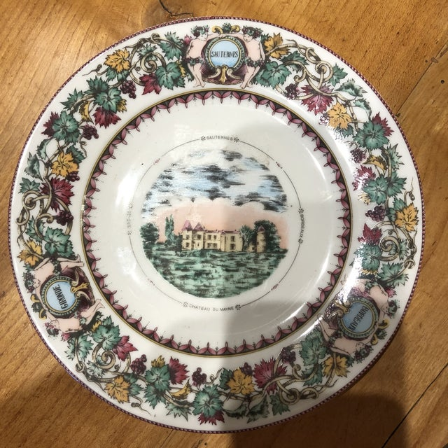 Mid 20th Century Antique Chateau Vineyard-Themed Limoges Cheese and Fruit Plates - Set of 5 For Sale In Atlanta - Image 6 of 10