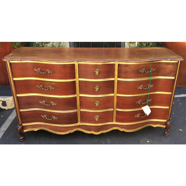 Bassett Last Chance! Antique Walnut & Gilt-Wood Buffet or Chest of Drawers by Bassett For Sale - Image 4 of 4